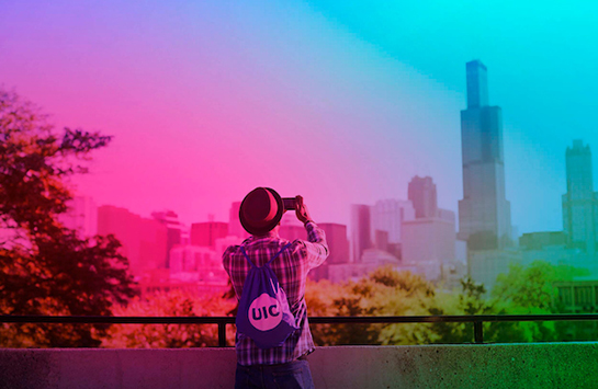 colorwashed image of student looking toward chicago skyline